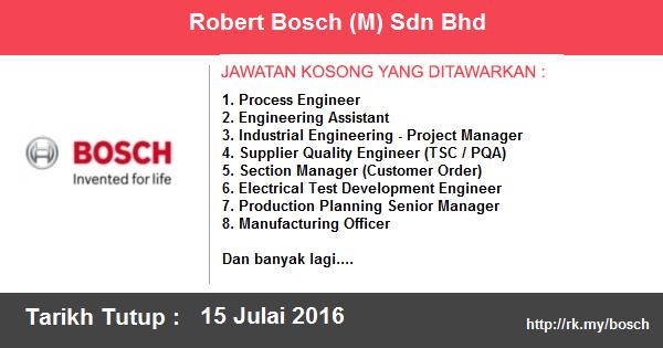 Jawatan Kosong di Robert Bosch (M) Sdn Bhd