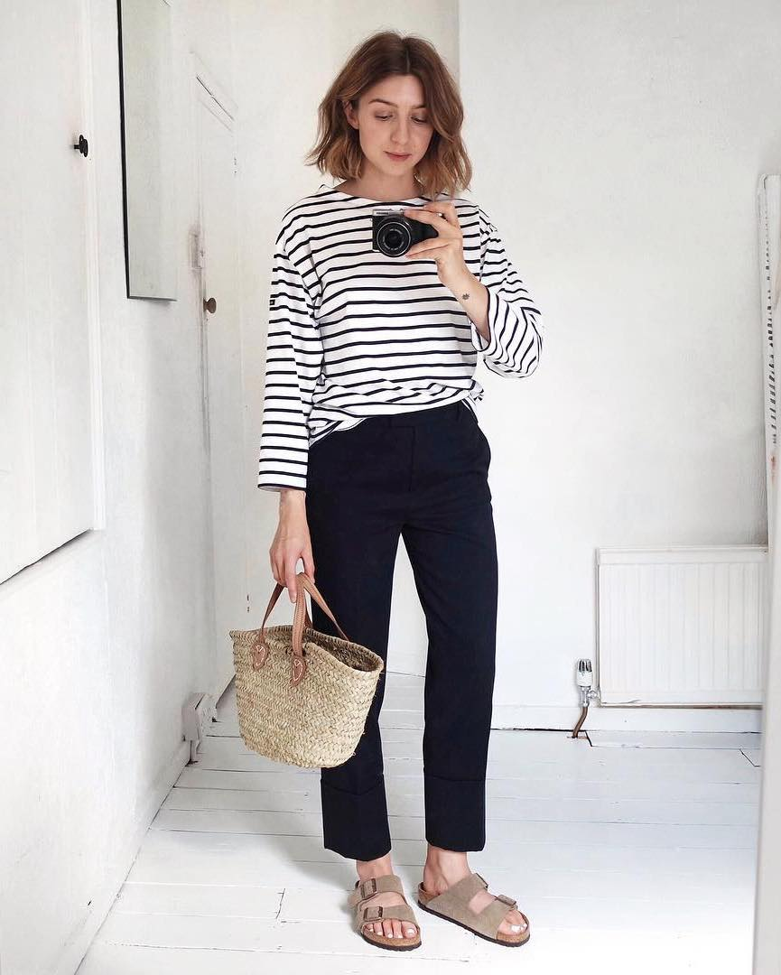 5 Casual-Cool Ways to Wear a Striped Tee for Spring — Black Pants and Birkenstock Sandals