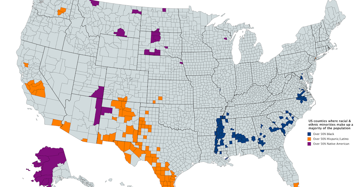 US Counties Where Racial And Ethnic Minorities Make Up A - Racial map of the us