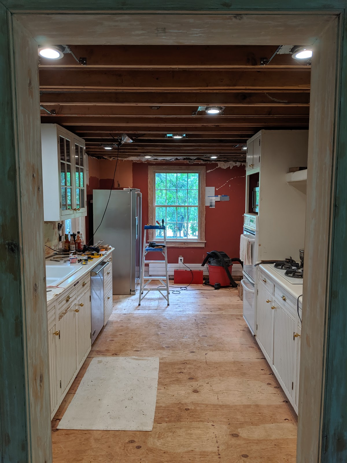 an old farm recessed cans in a kitchen