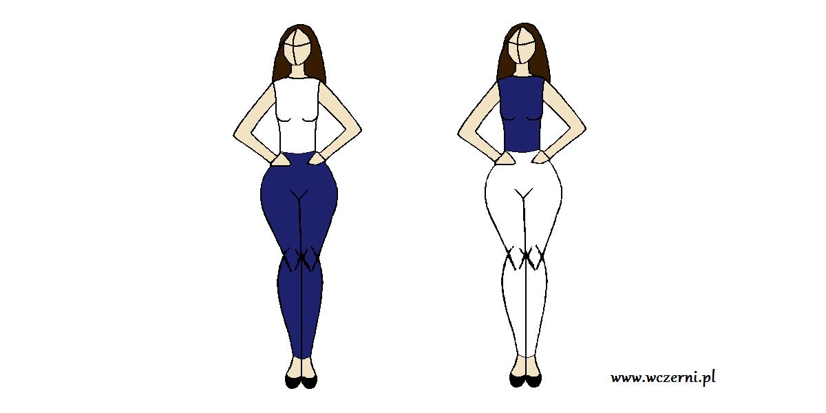 szerokie biodra wyszczuplone za pomocą koloru spodni