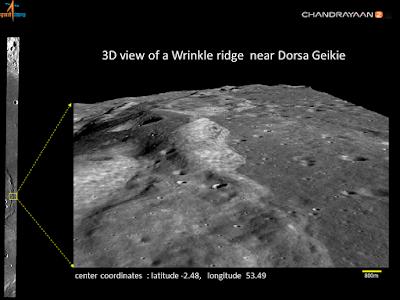 3D view of a Wrinkle ridge near Dorsa Geikie