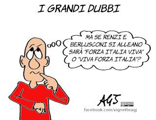 forza italia, italia viva, renzi, berlusconi, alleanze, politica, satira, vignetta