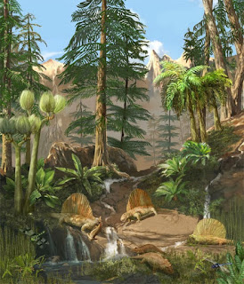 An artist's vision of the Permian Period with various plants and animals.