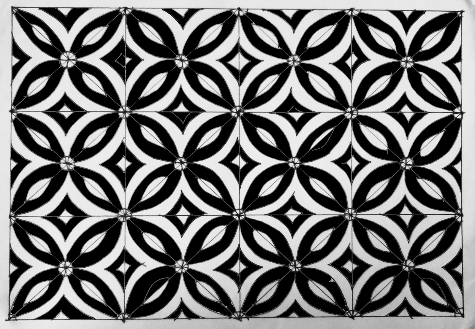 Menggambar Motif Batik Geometris Shona Design