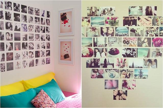 Mural de fotos coladas na parede