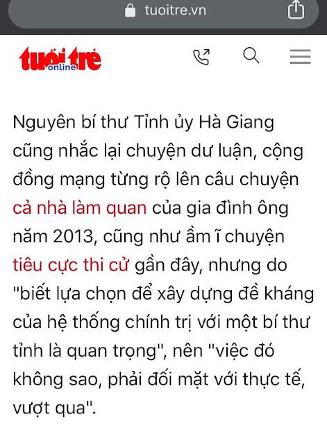 """Theo ông Triệu Tài Vinh: cả họ làm quan và con gái tiêu cực thi cử là """"đề kháng chính trị"""""""