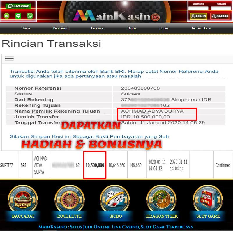 Selamat Kepada Member Setia MAIN KASINO Withdraw RP 10.500.000
