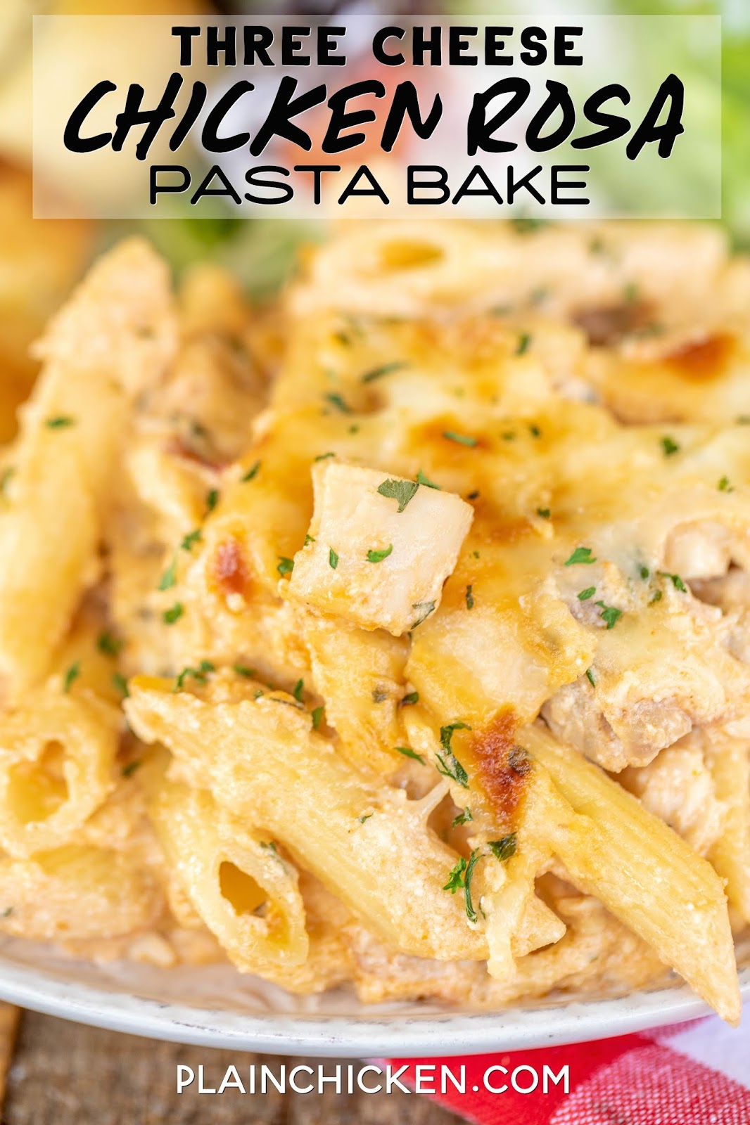 three cheese chicken rosa pasta on a plate