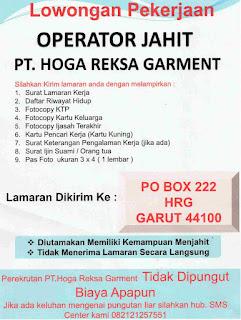Loker operator PT Hoga Reksa Garment terbaru 2021