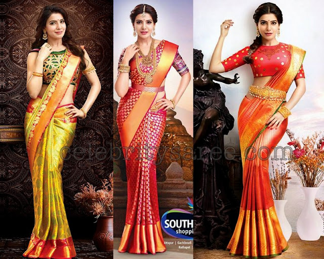 Samantha in South India Shopping Mall Saris