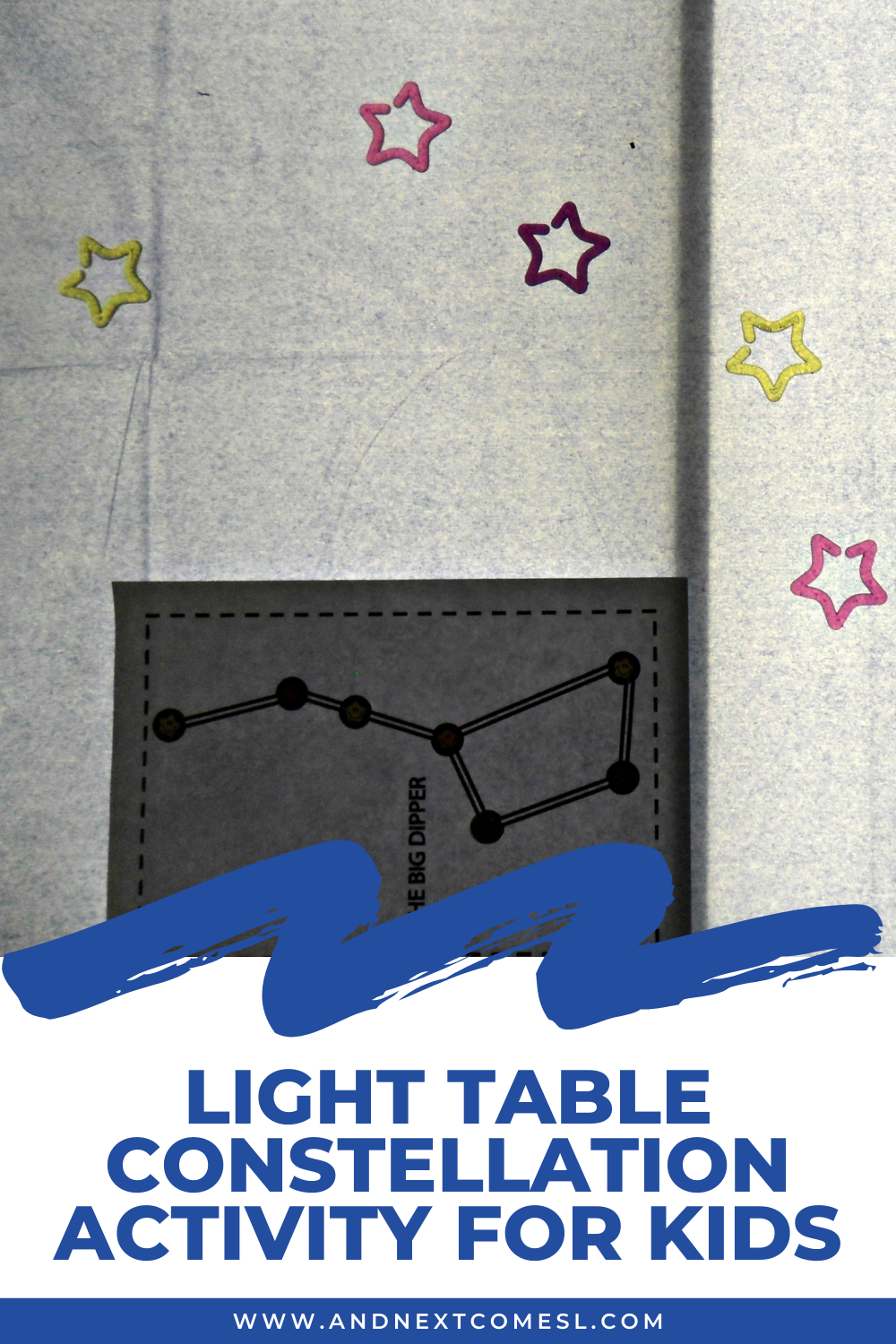 Kids of all ages will love learning about constellations with this light table constellation activity