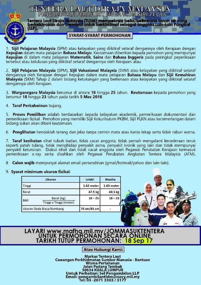 iklan Permohonan Laskar Muda TLDM 2018