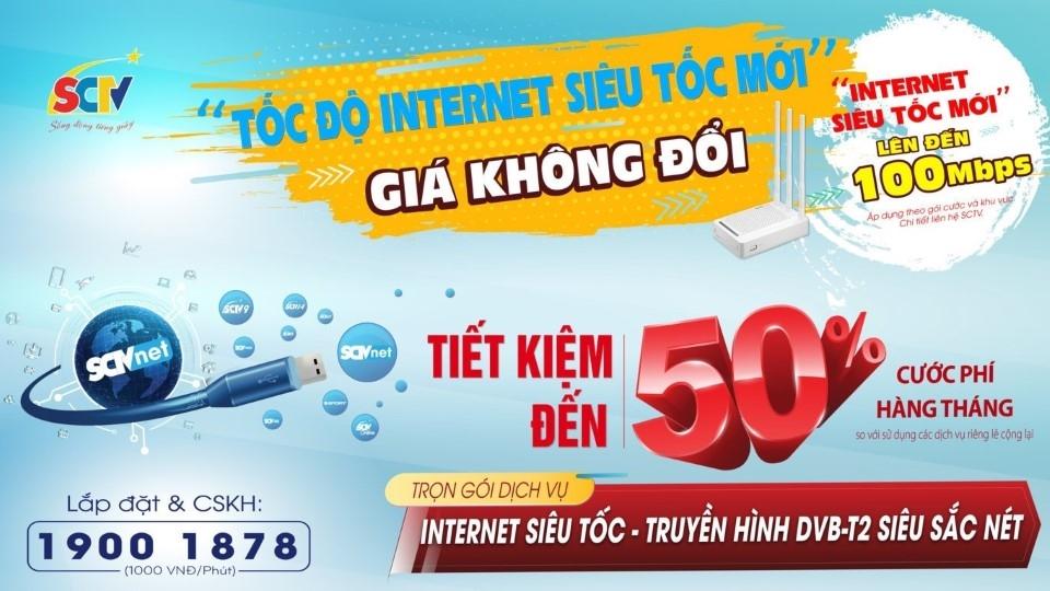 SCTV tăng tốc độ Internet, giá không đổi