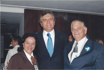 Dona Palmelina, o governador Ronaldo Caiado e líder Adolfo Lopes