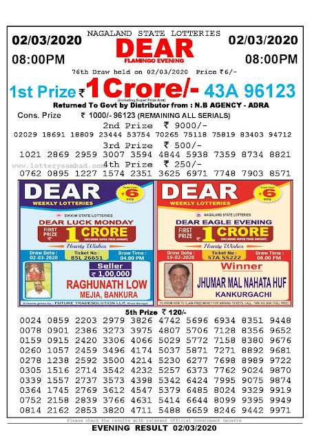 Lottery Sambad 02.03.2020 Nagaland Lottery Result 8 PM