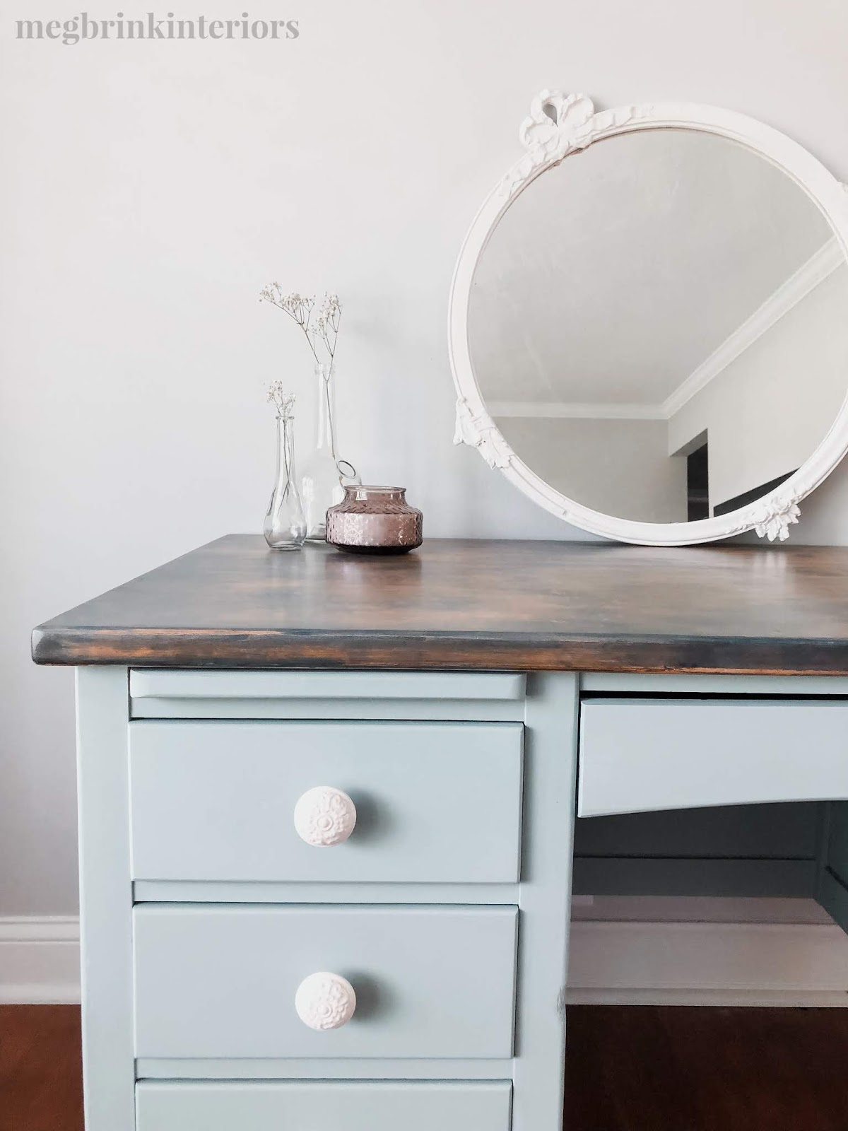 See how I updated this thrifted desk with some chalk style paint, stain, and knew white knobs!