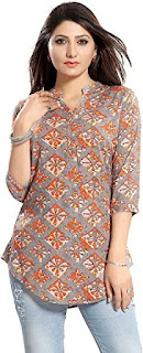 Women's Printed Grey Rayon Top