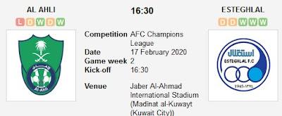 مباراة الأهلي واستقلال طهران بث مباشر
