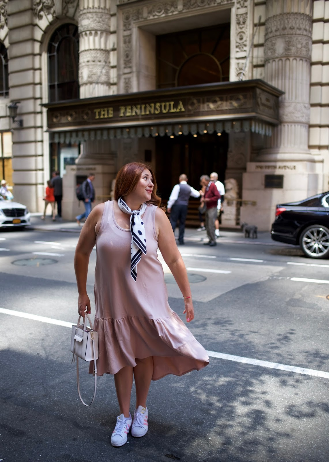 peninsula hotel new york, norsdtom leith dress, blush dress, city outfit, how to wear a neck scarf, Adidas superstars pink