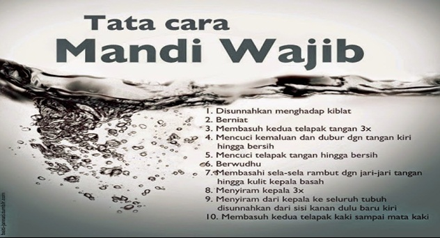 Tata Cara Mandi Wajib,Niat Mandi Wajib dan Do'a Mandi Wajib