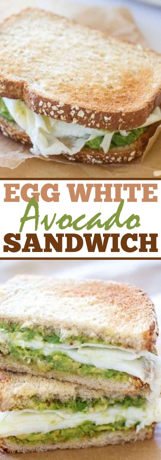 Egg White and Avocado Breakfast Sandwich #healthy #breakfast #lunch #sandwich #highprotein