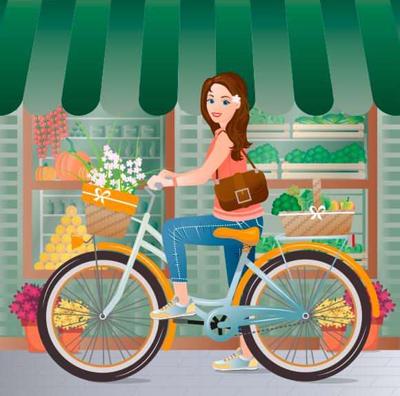 Una joven en bicicleta frente a una tienda de barrio donde compró frutas y verduras frescas y de aspecto apetitoso