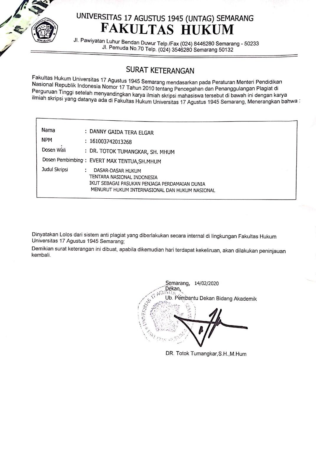 Surat Keterangan Karya Ilmiah / Skripsi Bebas Plagiat Fakultas Hukum Universitas 17 Agustus 1945 (UNTAG) Semarang