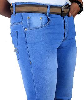 Mens Stretchable Fabric Light Blue Slim Fit Jeans