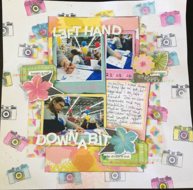 scrapbook page layout american crafts dear lizzy happy place collection stamping camera watercolor watercolour