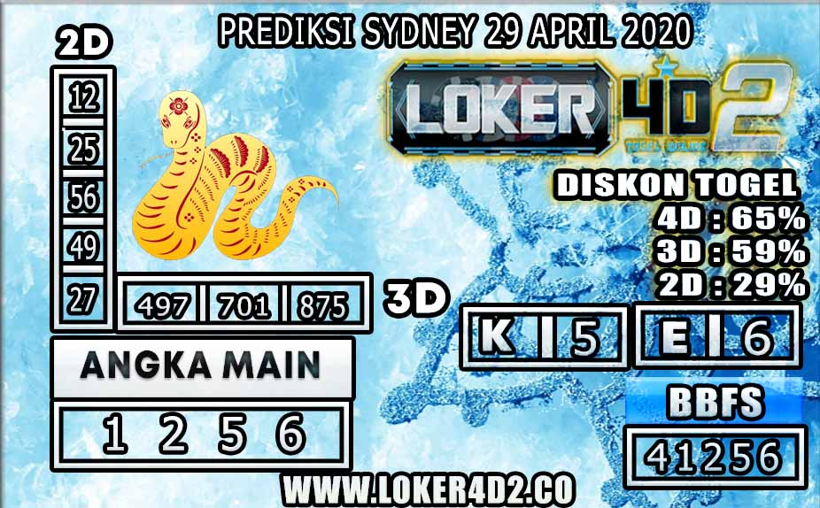 PREDIKSI TOGEL SYDNEY LOKER4D2 29 APRIL 2020
