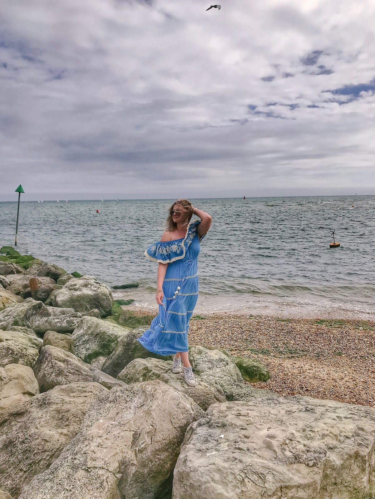 Lana Suhova of Dalry Rose blog at Mudeford Beach
