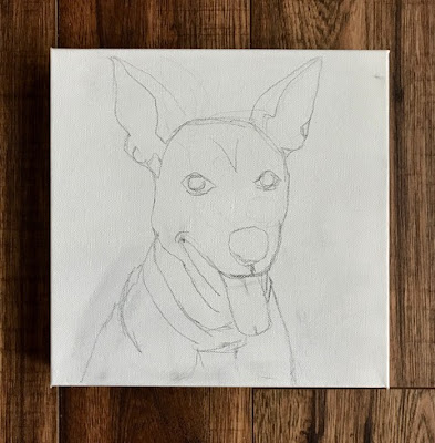 """Bailey"" Dog portrait by Denise Cerro, in progress"