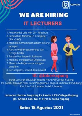 Lowongan Kerja LP3I Kupang Sebagai IT Lecturers