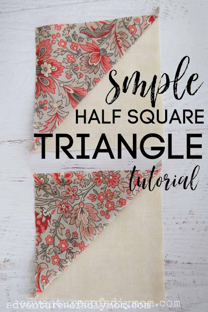 image of two half square triangle quilting piece with the words simple half square triangle tutorial