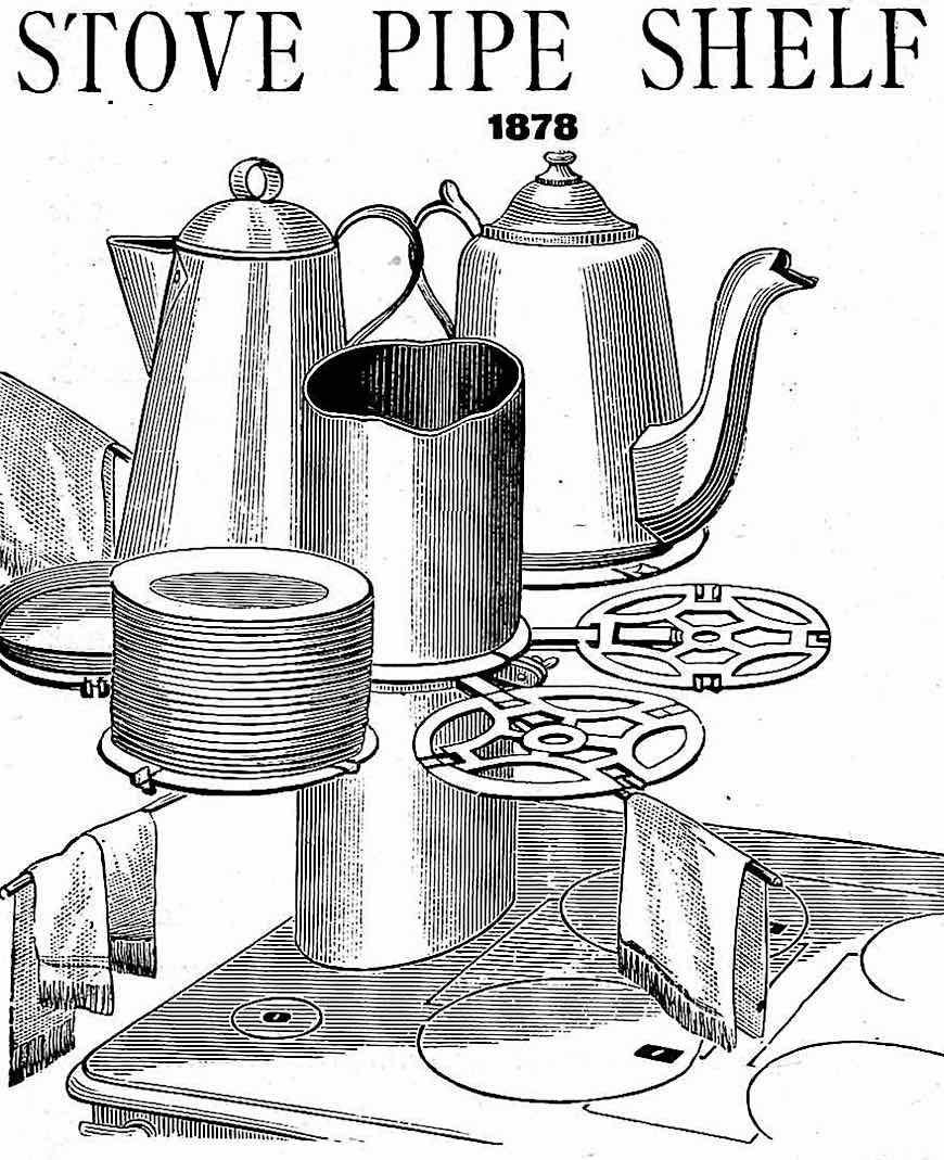 """Stove pipe shelf"" an 1878 illustrated advertisement"