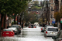 Flooding in Hoboken, New Jersey after Superstorm Sandy in 2012. Climate change is predicted to increase the frequency and severity of coastal storms. (Credit: accarrino, CC BY-ND) Click to Enlarge.