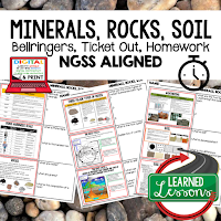 Minerals, Rock Cycle Worksheets, Earth Science NGSS Bellringers, Science Warm Ups, Science Homework, Science Ticket Out