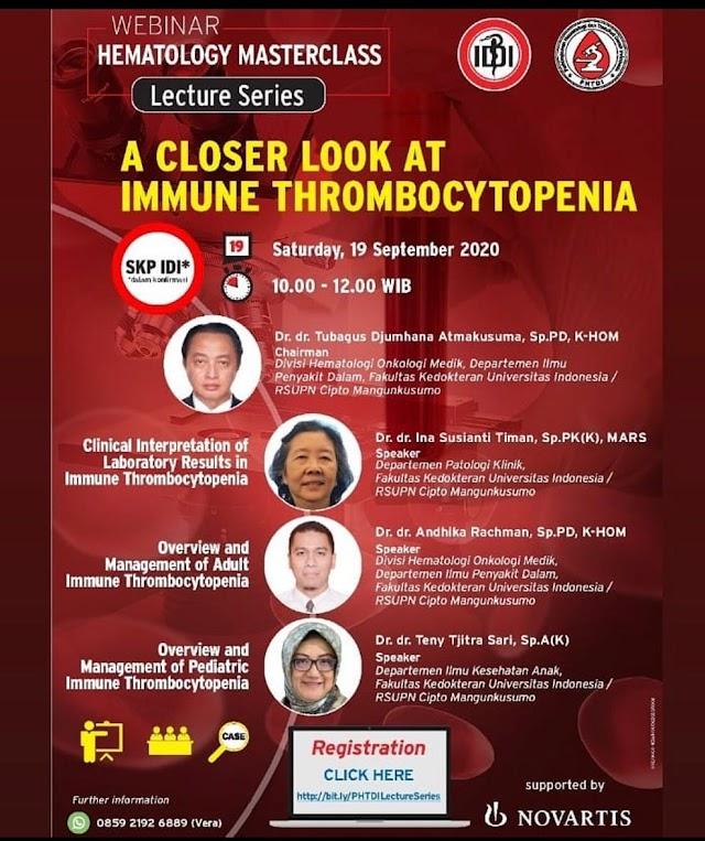 "Webinar ""A Closer Look at Immune Thrombocytopenia"" Sayurdya,19 September 2020"