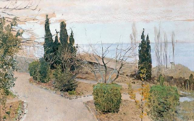 Исаак Ильич Левитан - Садик в Ялте. Кипарисы. 1886
