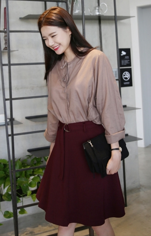 Self-Belt A-Line High Rise Skirt