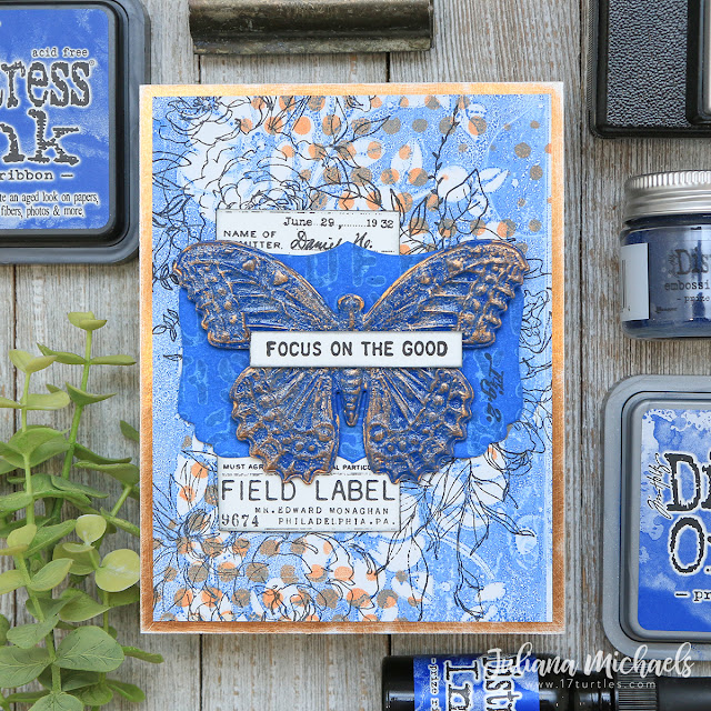 Focus On The Good Card by Juliana Michaels featuring Tim Holtz Prize Ribbon Distress Ink