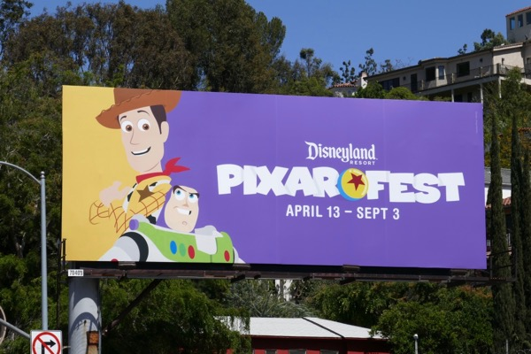 Woody Buzz Disneyland Pixar Fest billboard