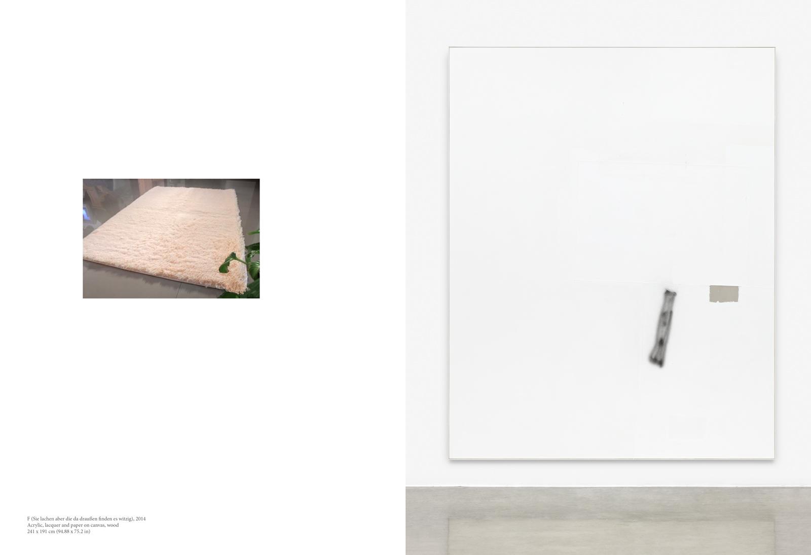 David Ostrowski, F (Sie lachen aber die da draußen finden es witzig), 2014, Acrylic, lacquer and paper on canvas, wood, 241 x 191 cm (94.88 x 75.2 in)