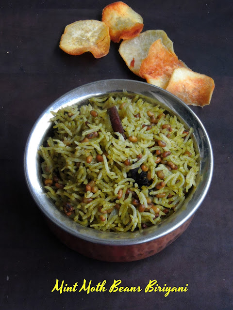Pudhina Moth Beans Briyani, Mint Matki biriyani