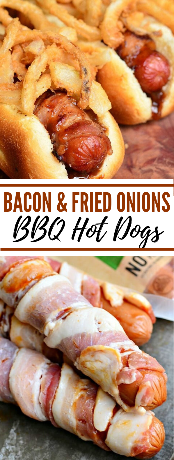 Bacon and Fried Onions BBQ Hot Dogs #lunch #comfortfood