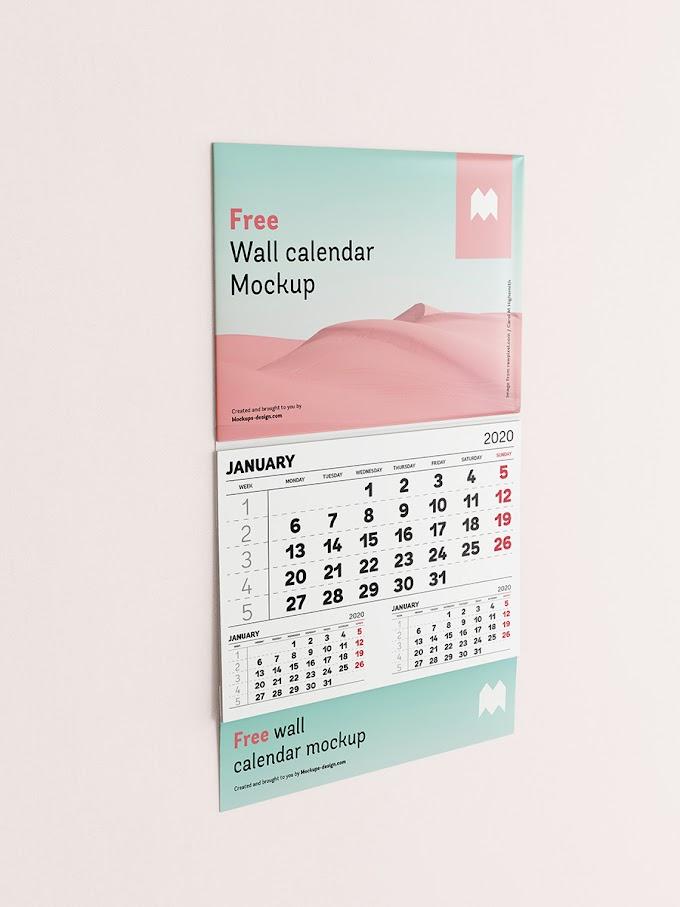 Free Single Panel Wall Calendar Mockup