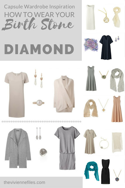 How to Wear Diamonds in a capsule wardrobe - the April Birthstone; Some New Ideas!
