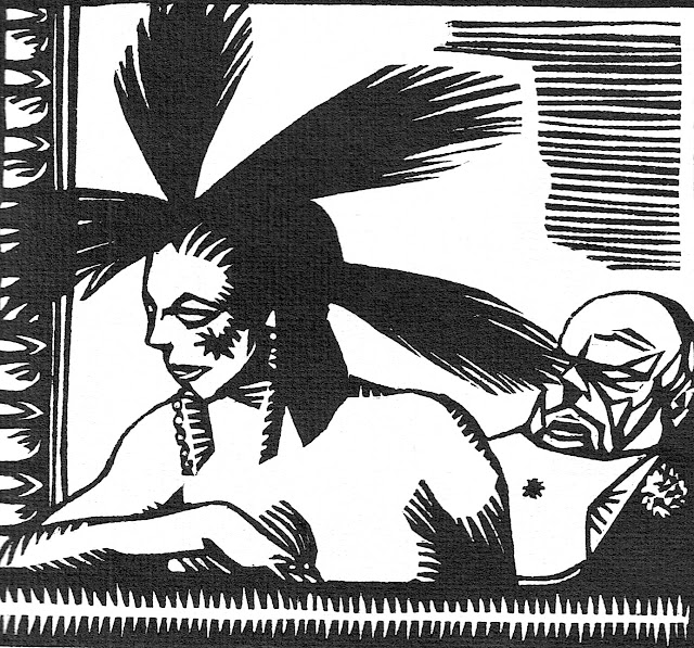 a René Georges Hermann-Paul wood cut, a woman's feathers poke a man's eye in the theater balcony