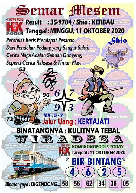Syair Semar Mesem HK Minggu 11 Oktober 2020